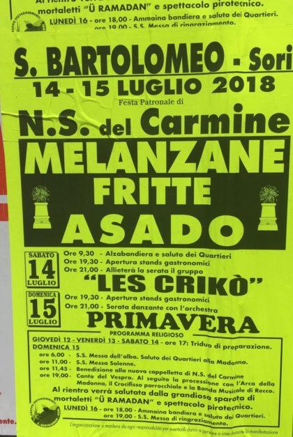 Eventi Genova 2018 Melanzane Fritte e Asado
