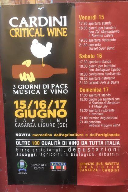 Eventi Genova Giugno 2018 Cardini Critical Wine Casarza Ligure