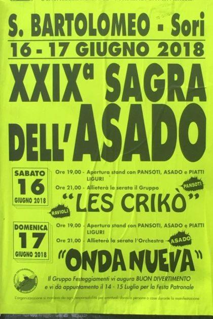 Eventi Genova Giugno 2018 XXIX Sagra dell Asado Sori