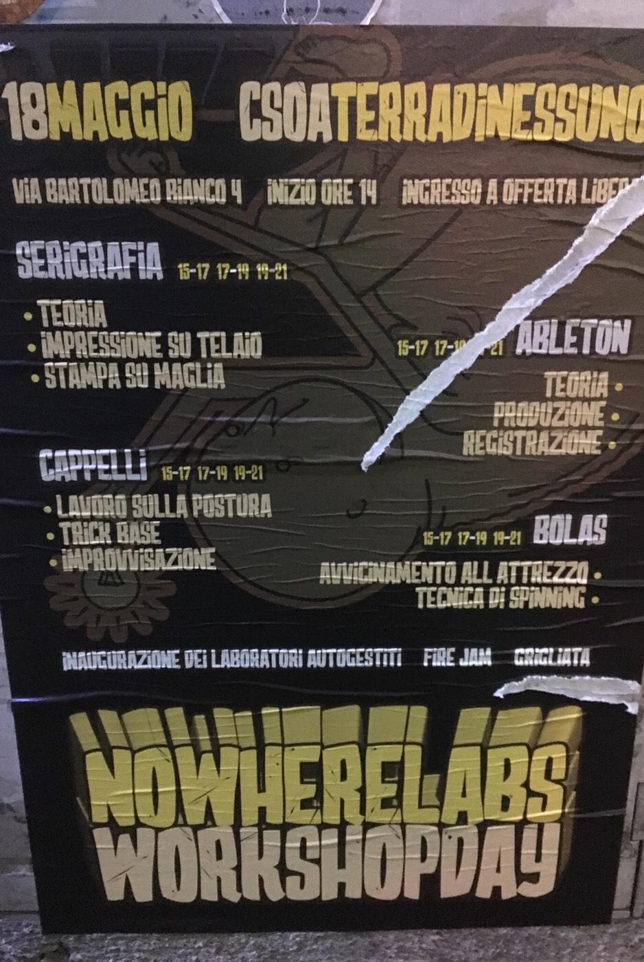 Nowherelabs LSOA Buridda Corso Monte Grappa 39, 16137 Genova Dal 18/05/2018 Al 18/05/2018 15:00 - 21:00
