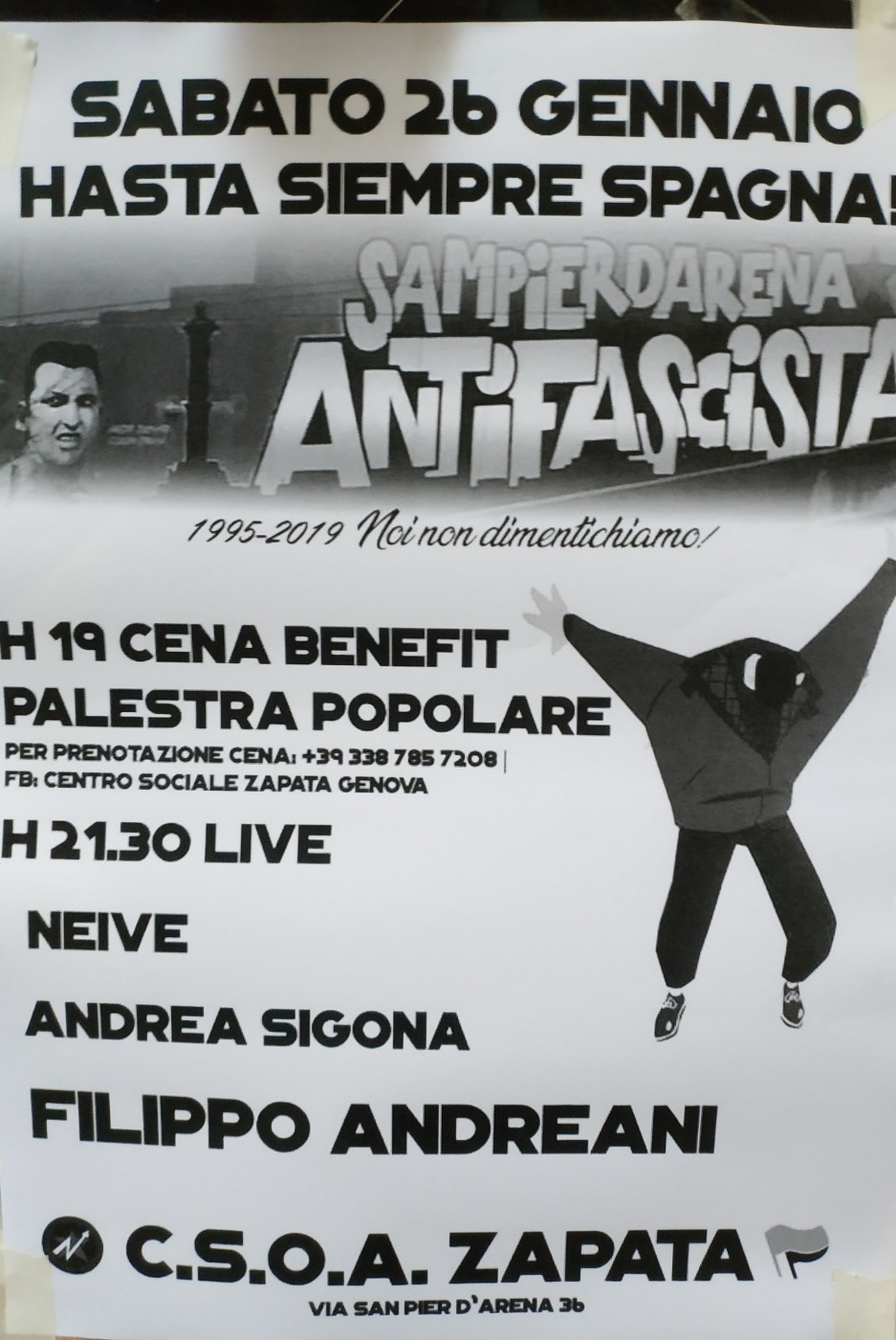 CSOA Zapata Via San Pier d'Arena 36, 16151 Genova Dal 26/01/2019 Al 26/01/2019 19:00 - 02:00