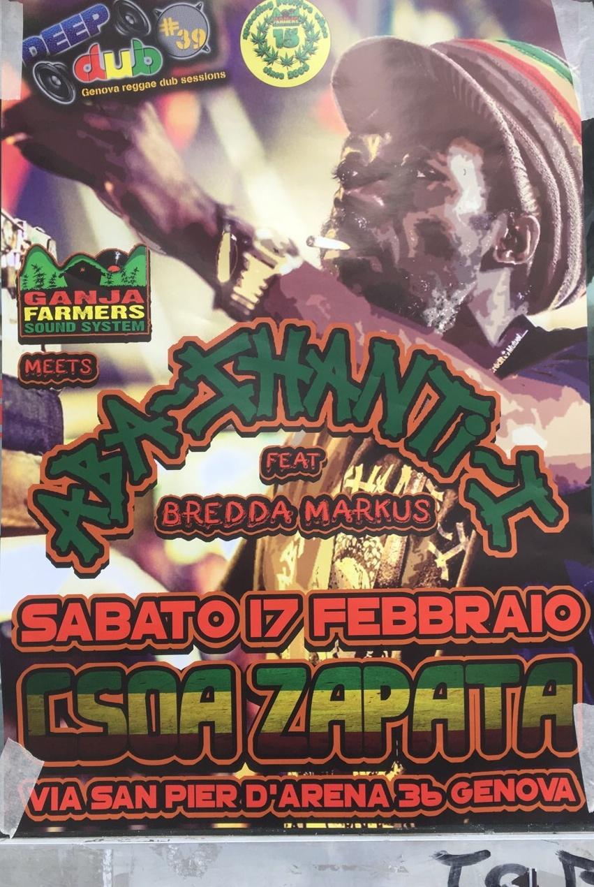 Aba-Shanti-I CSOA Zapata Via San Pier d'Arena 36, 16151 Genova Dal 17/02/2018 Al 17/02/2018 21:00 - 04:00