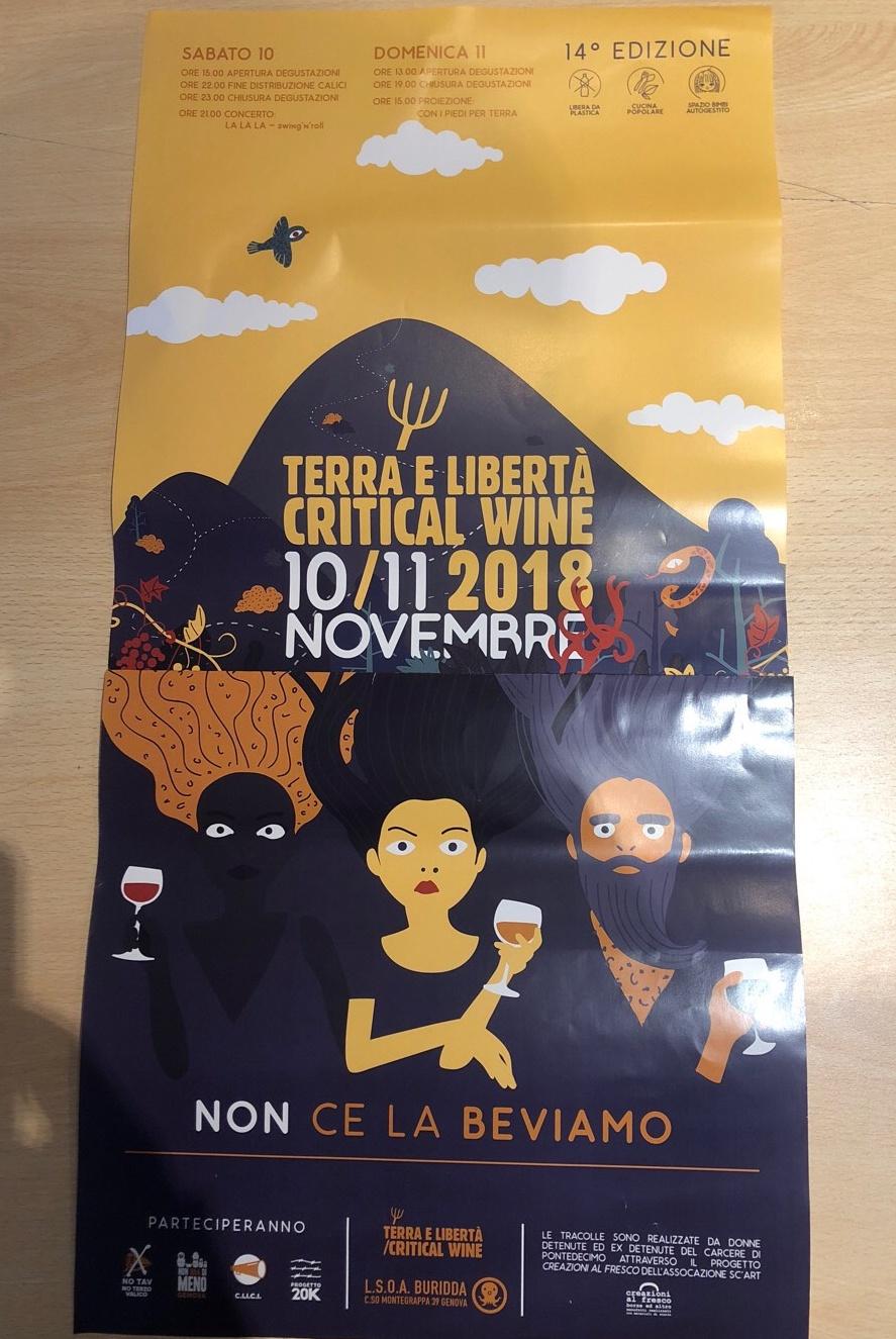 Critical Wine 2018 LSOA Buridda Corso Monte Grappa 39, 16137 Genova Dal 10/11/2018 Al 10/11/2018 15:00 - 23:00