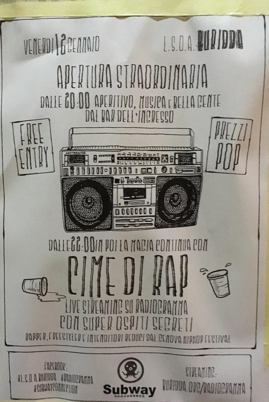 Cime di Rap Radio Night Live LSOA Buridda Corso Monte Grappa 39, 16137 Genova Dal 12/01/2018 Al 12/01/2018 20:00 - 03:00