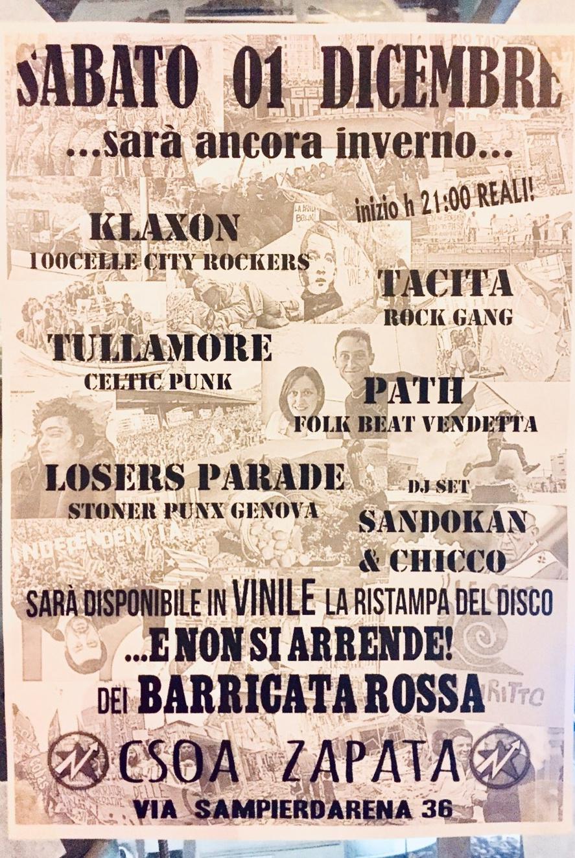 Concerti...sarà ancora inverno... CSOA Zapata Via San Pier d'Arena 36, 16151 Genova Dal 01/12/2018 Al 01/12/2018 21:00 - 02:00