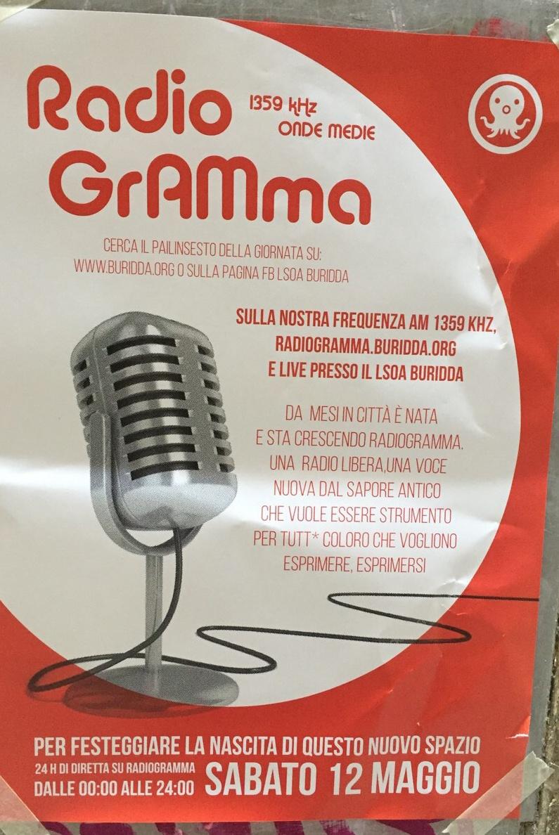 Inaugurazione Radio Gramma LSOA Buridda Corso Monte Grappa 39, 16137 Genova Dal 12/05/2018 Al 12/05/2018 00:00 - 05:45