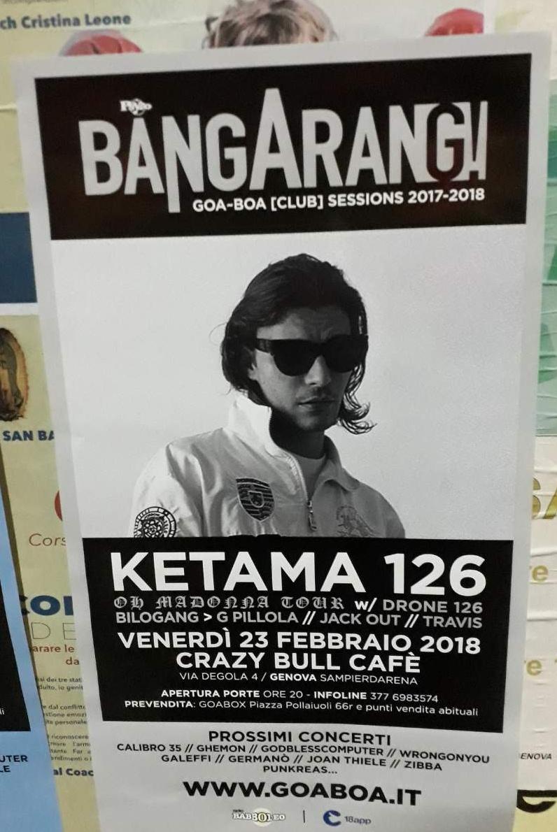 Bangarang - Ketama 126 Crazy Bull Café Via Eustachio Degola 4, 16151 Genova Dal 23/02/2018 Al 23/02/2018 20:00 - 00:00