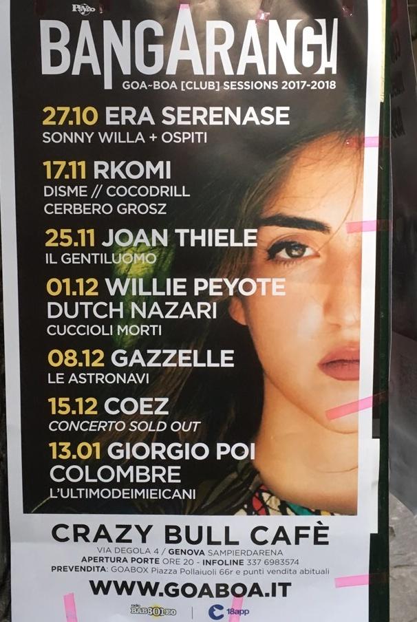 Giorgio Poi Colombre Crazy Bull Café Via Eustachio Degola 4, 16151 Genova Dal 13/01/2018 Al 13/01/2018 21:00 - 02:00