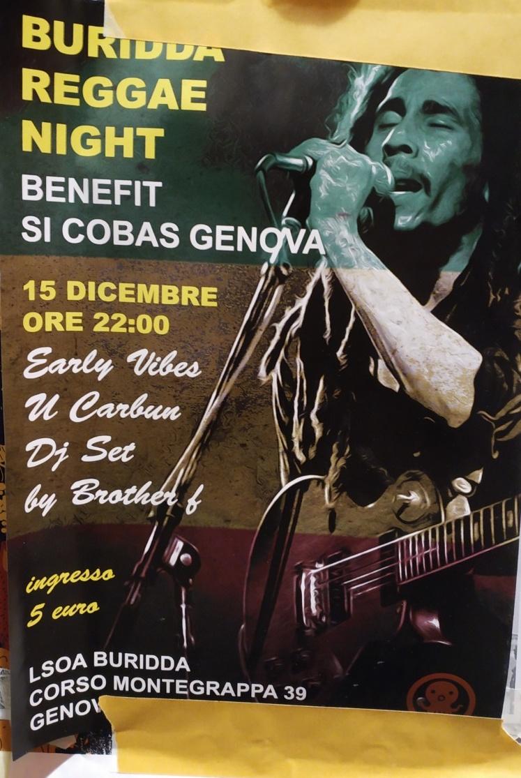 Buridda Reggae Night LSOA Buridda Corso Monte Grappa 39, 16137 Genova Dal 15/12/2018 Al 15/12/2018 22:00 - 03:00