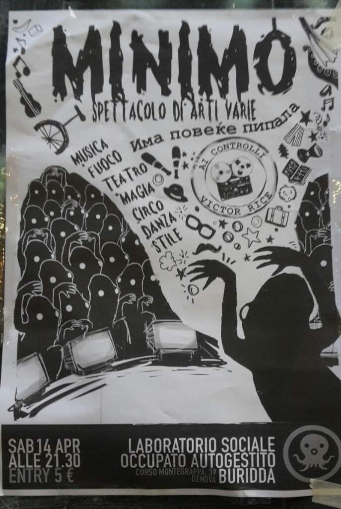 MINIMO. Spettacolo di arti varie LSOA Buridda Corso Monte Grappa 39, 16137 Genova Dal 14/04/2018 Al 14/04/2018 21:30 - 01:30