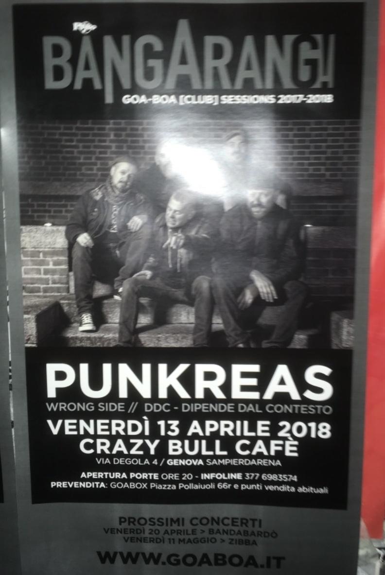 BangArang - Punkreas Crazy Bull Café Via Eustachio Degola 4, 16151 Genova Dal 13/04/2018 Al 13/04/2018 21:00 - 02:00