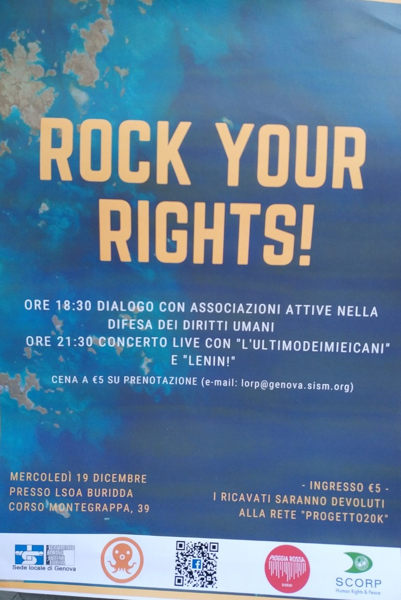 Rock Your Rights! LSOA Buridda Corso Monte Grappa 39, 16137 Genova Dal 19/12/2018 Al 19/12/2018 18:30 - 00:00