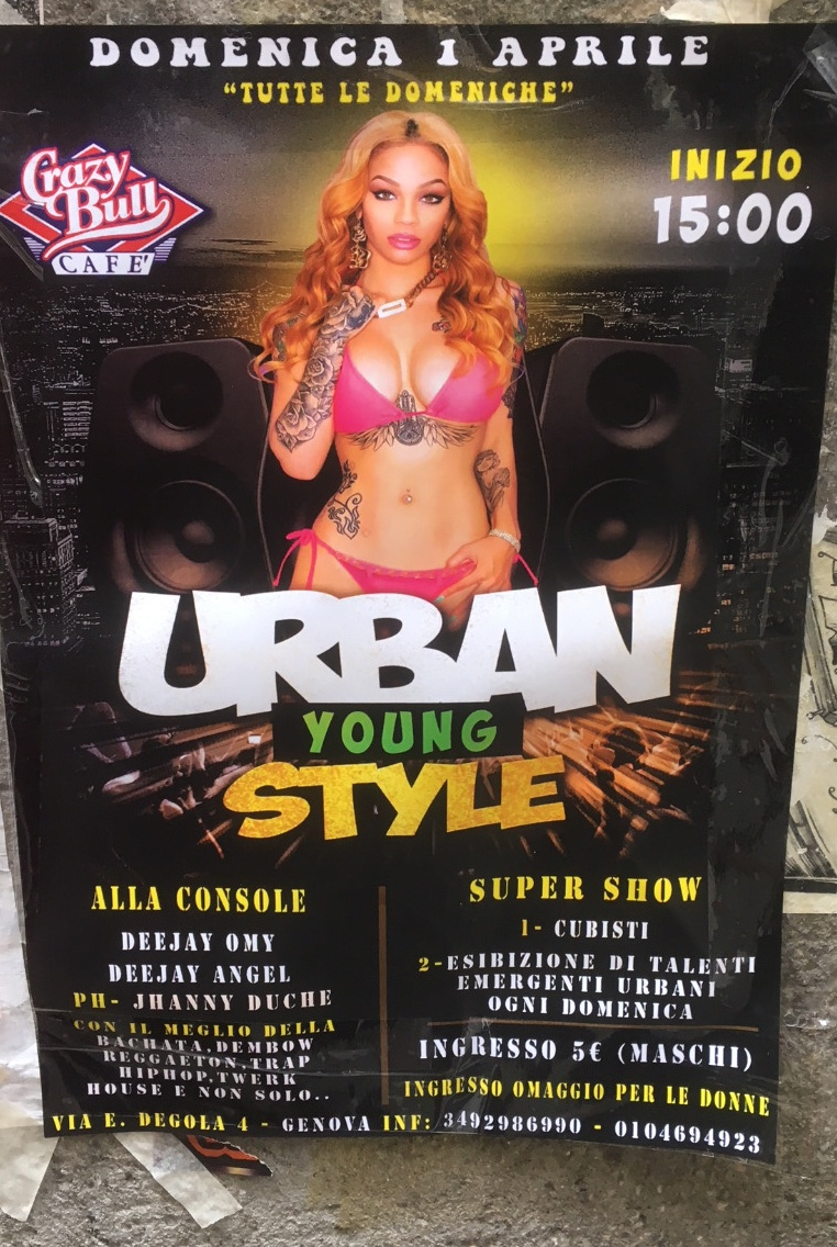 Urban Young Style Crazy Bull Café Via Eustachio Degola 4, 16151 Genova Dal 01/04/2018 Al 01/04/2018 15:00 - 23:00