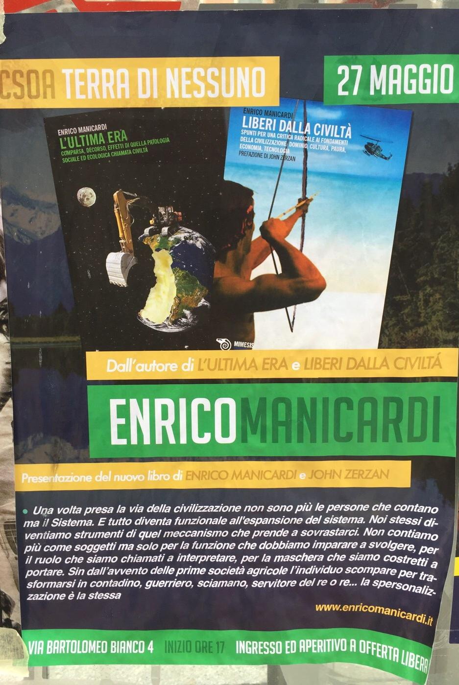 Presentazione del nuovo libro di Enrico Manicardi CSOA TDN - Terra Di Nessuno Via Bartolomeo Bianco 4, 16127 Genova Dal 27/05/2018 Al 27/05/2018 17:00 - 19:00