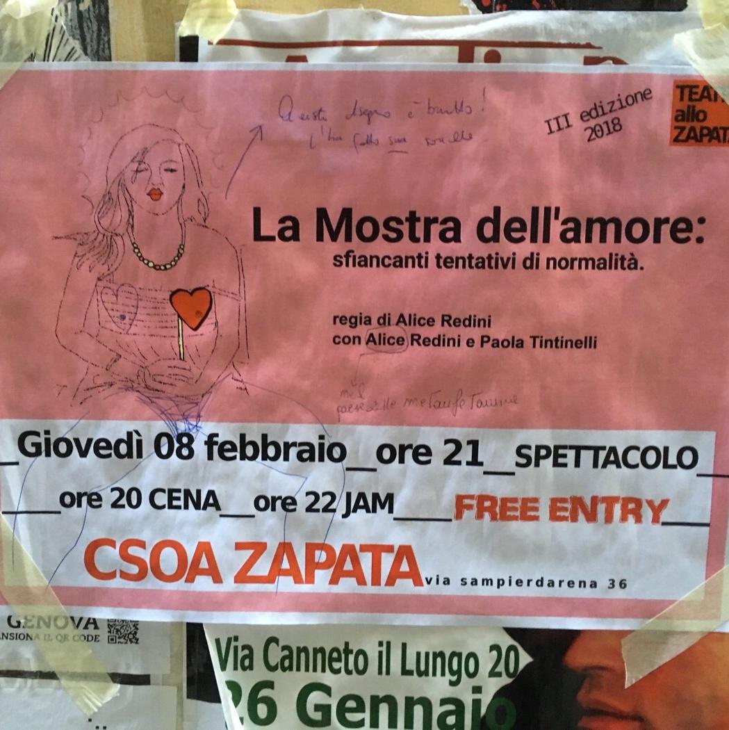 La Mostra dell'Amore CSOA Zapata Via San Pier d'Arena 36, 16151 Genova Dal 08/02/2018 Al 08/02/2018 21:00 - 02:00