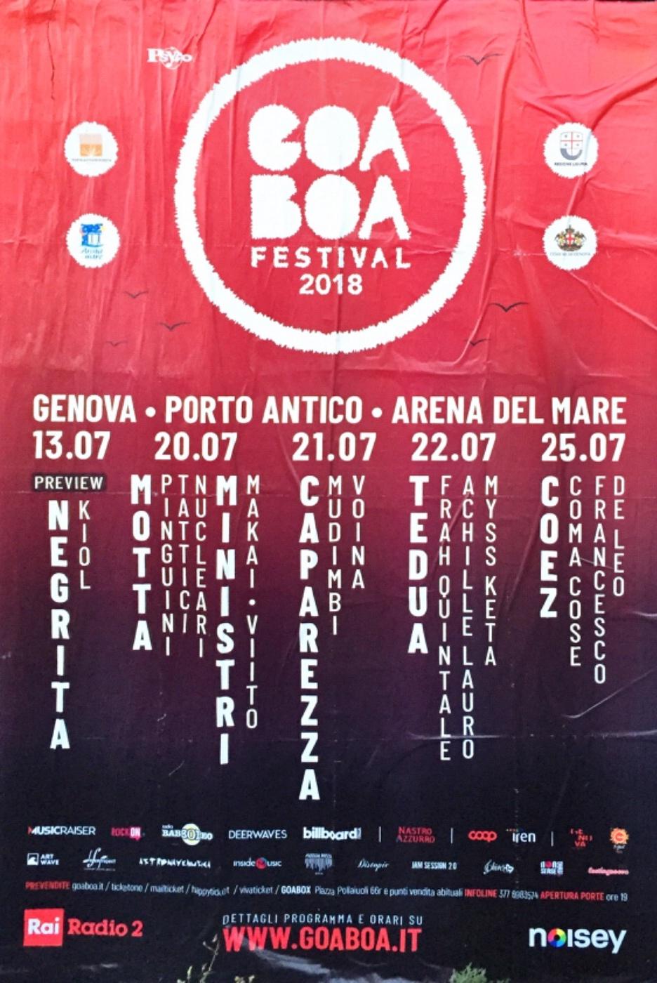 Eventi a Genova Arena del Mare Luglio 2018 - GOA BOA Festival 2018