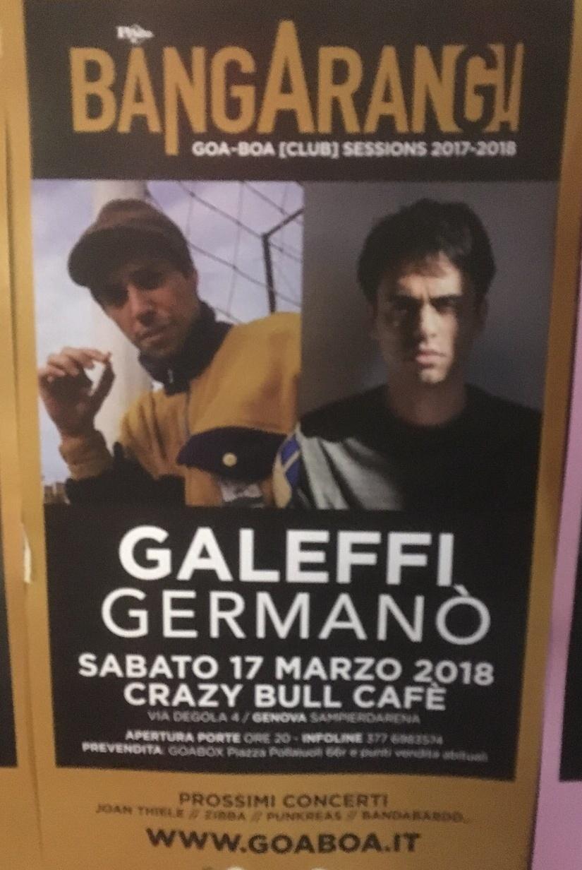 Galeffi Germanò Crazy Bull Café Via Eustachio Degola 4, 16151 Genova Dal 17/03/2018 Al 17/03/2018 21:00 - 03:00