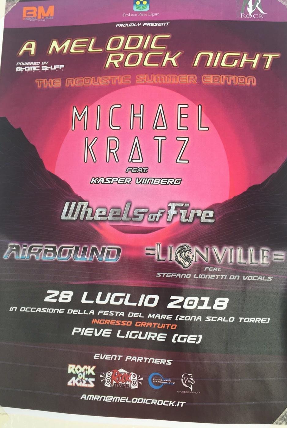 A Melodic Rock Night Scalo Torre di Pieve Ligure Piazzale la Torre, 16031 Pieve Ligure Dal 28/07/2018 Al 28/07/2018 20:00 - 02:00