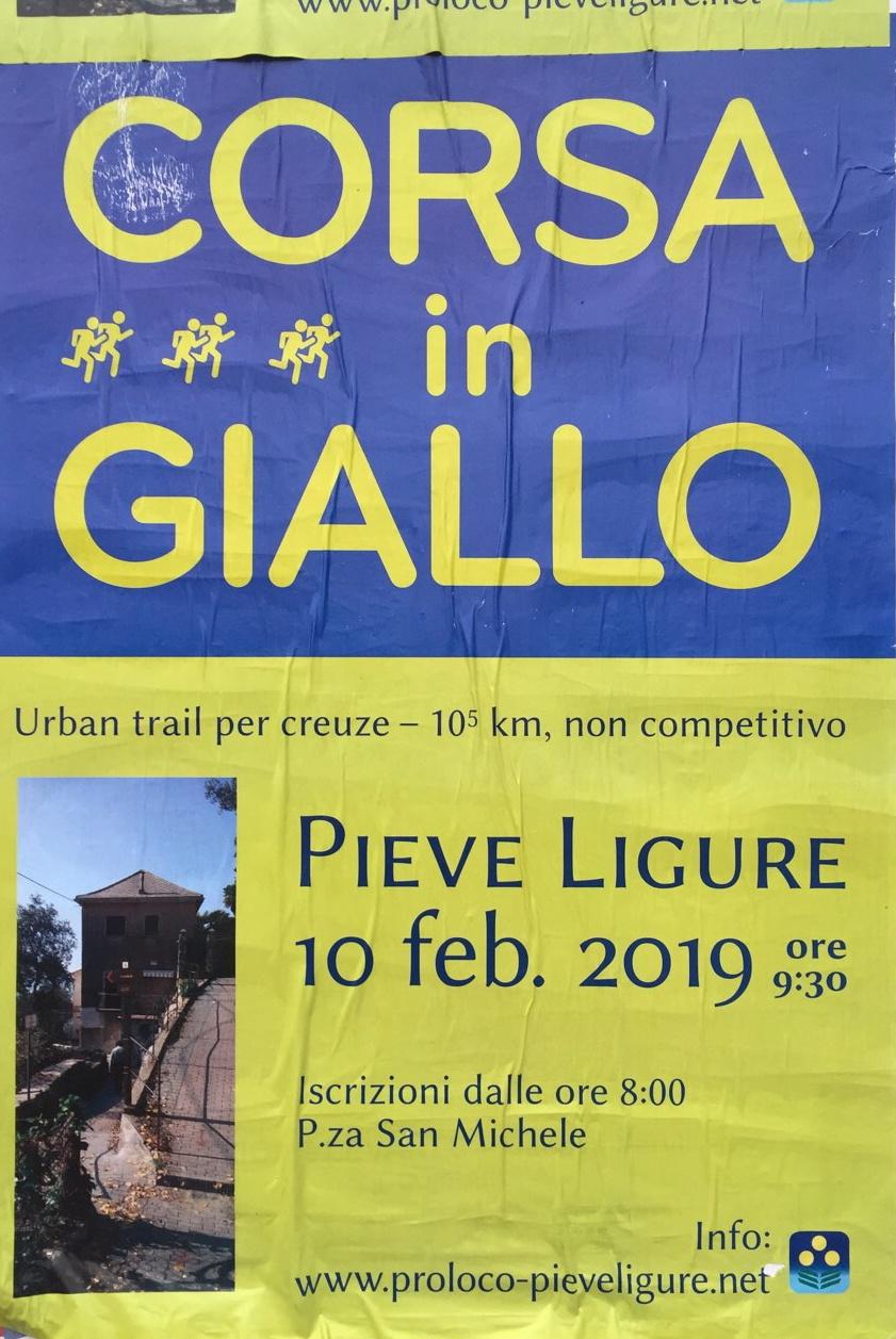 Corsa in Giallo Piazza San Michele Pieve Ligure Dal 10/02/2019 Al 10/02/2019 08:00 - 12:00