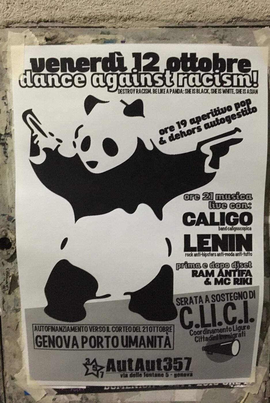 Dance Against Racism AutAut357 Via delle Fontane 5, 16123 Genova Dal 12/10/2018 Al 12/10/2018 19:00 - 22:00