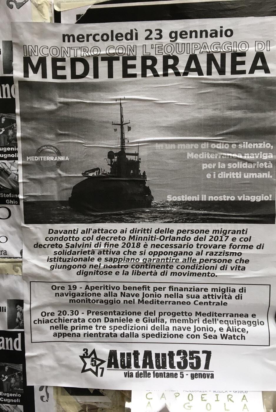 Incontro con l'Equipaggio di Mediterranea AutAut357 Via delle Fontane 5, 16123 Genova Dal 23/01/2019 Al 23/01/2019 19:00 - 22:00