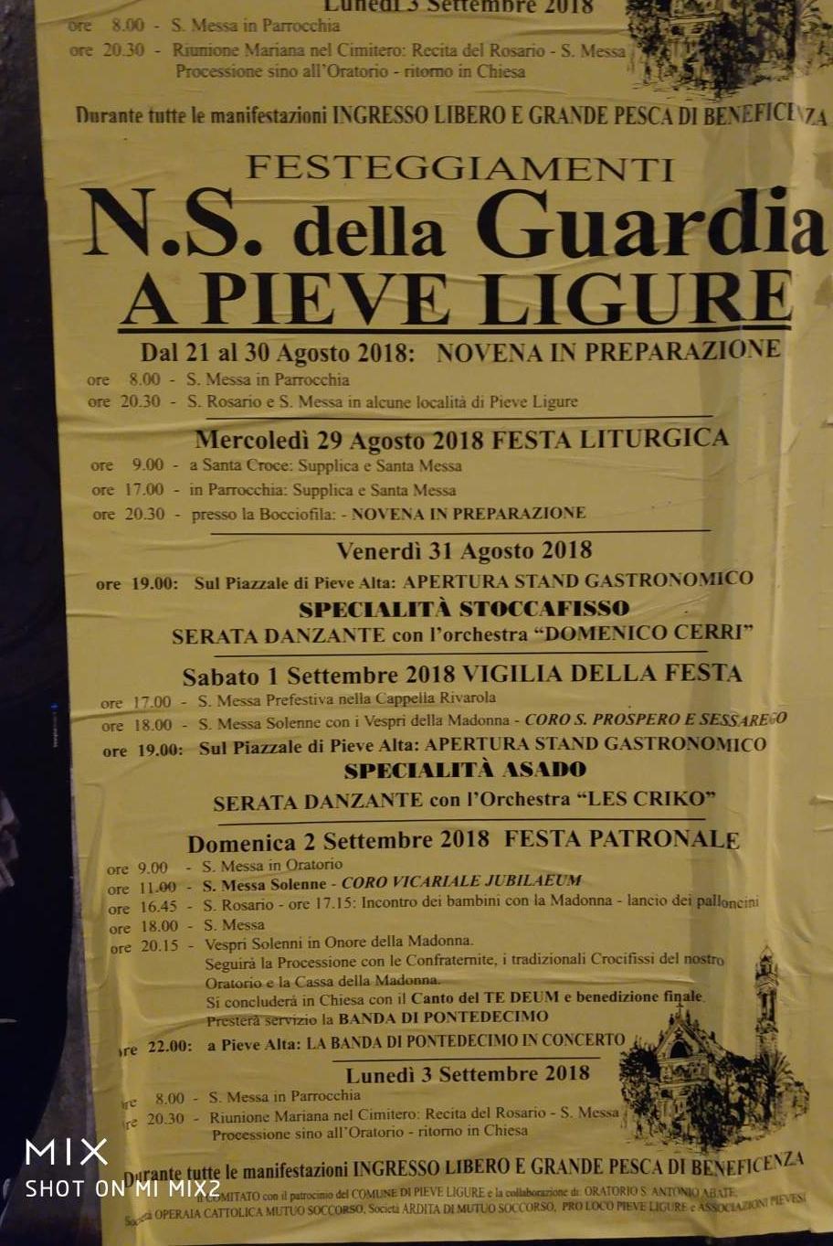 Nostra Signora Della Guardia SOCMS Pieve Alta Piazza San Michele, 16031 Pieve Ligure Dal 29/08/2018 Al 02/09/2018 19:00 - 01:00