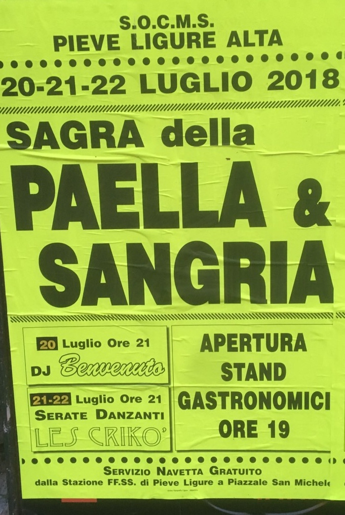 Sagra della Paella e Sangria 2018 SOCMS Pieve Alta Piazza San Michele, 16031 Pieve Ligure Dal 20/07/2018 Al 22/07/2018 19:00 - 02:00