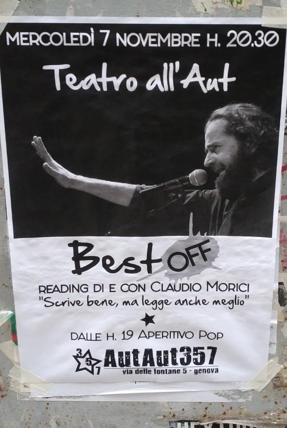 Teatro all'Aut AutAut357 Via delle Fontane 5, 16123 Genova Dal 07/11/2018 Al 07/11/2018 20:30 - 00:00