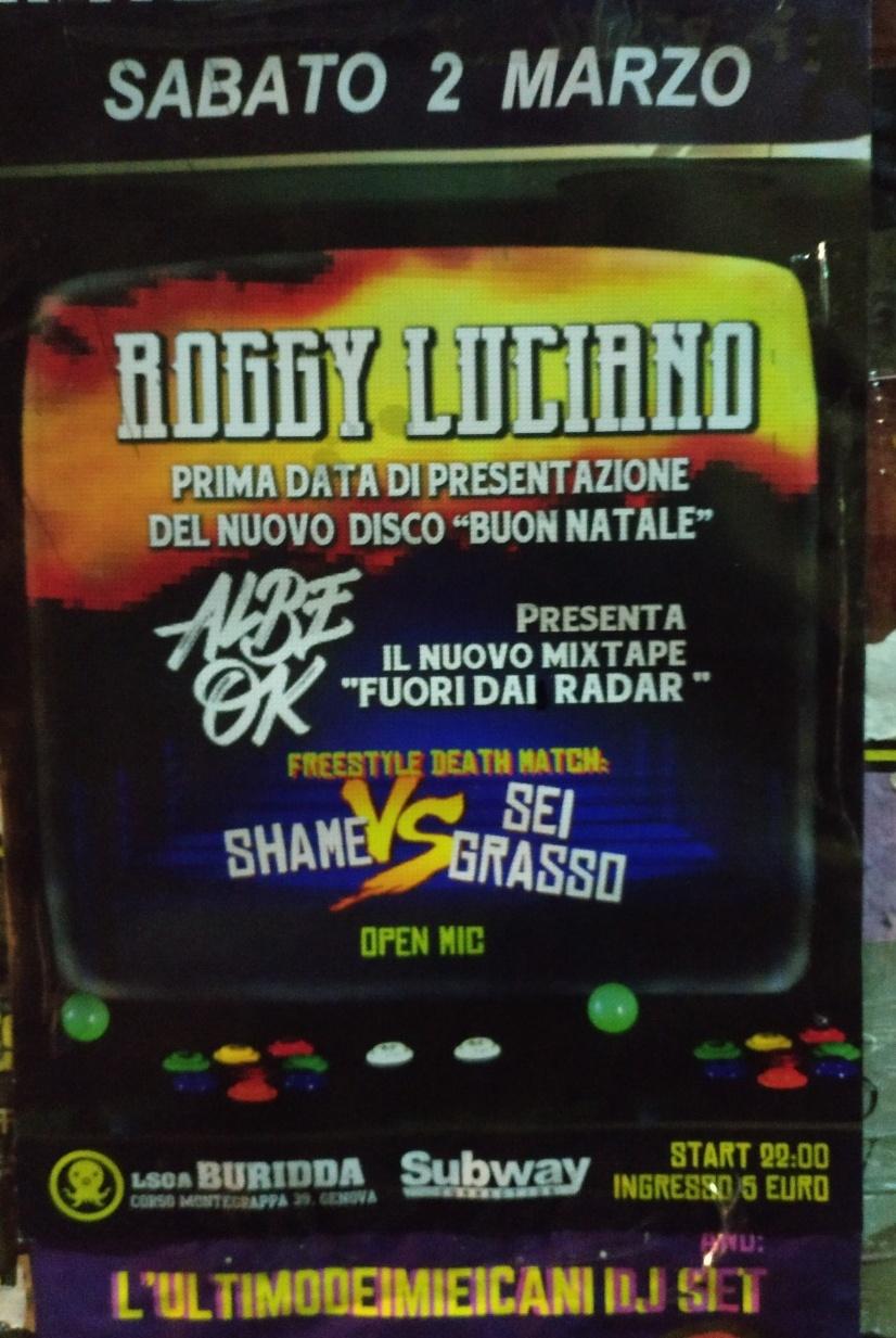 Roggy Luciano LSOA Buridda Corso Monte Grappa 39, 16137 Genova Dal 02/03/2019 Al 02/03/2019 21:00 - 02:00