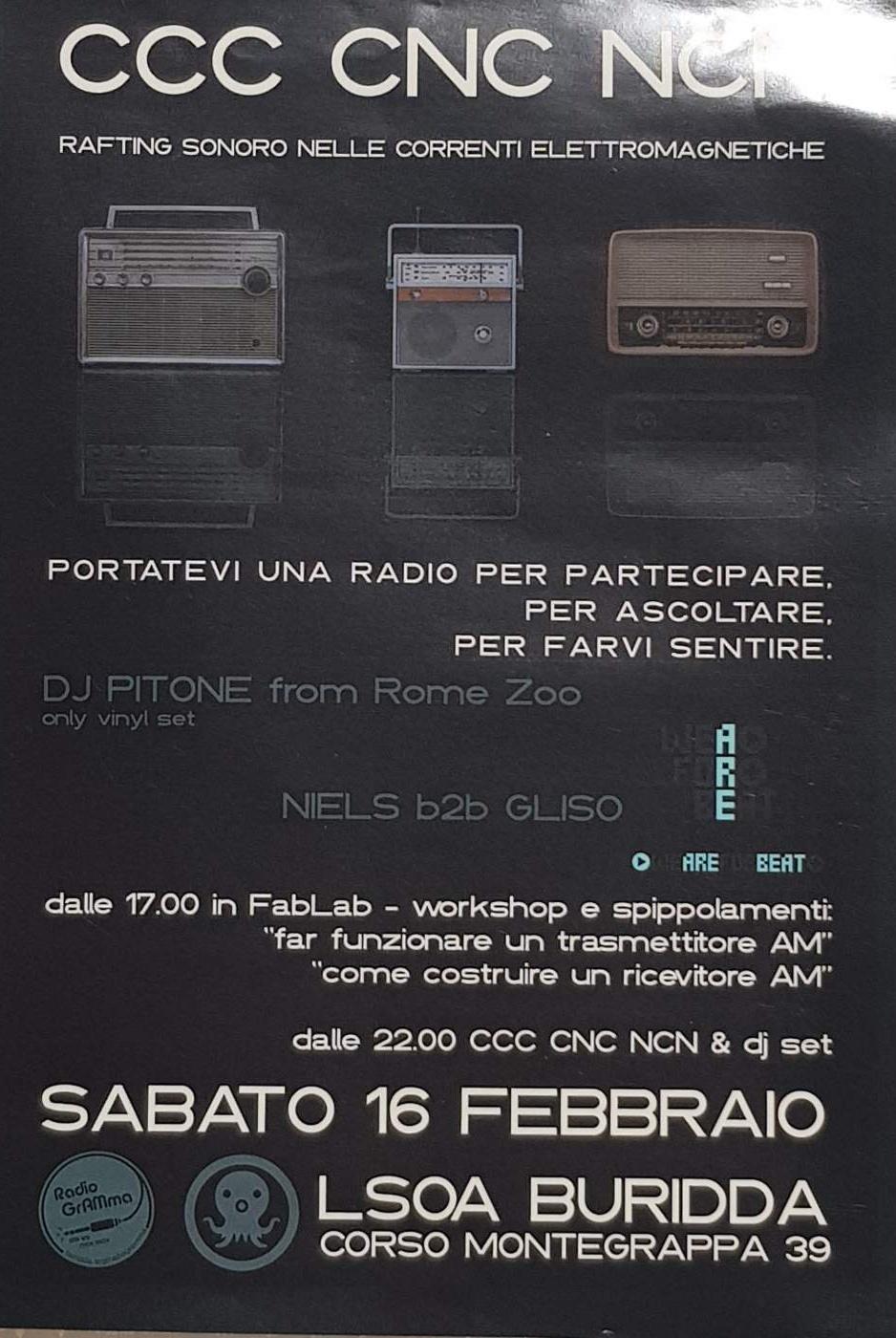 CCC CNC NCN LSOA Buridda Corso Monte Grappa 39, 16137 Genova Dal 16/02/2019 Al 16/02/2019 22:00 - 02:00