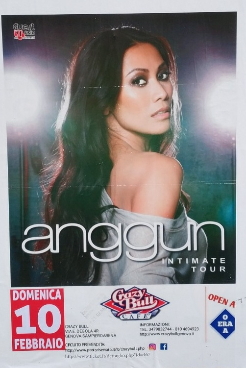 Anggun Intimate Tour Crazy Bull Cafe Via Eustachio Degola 4, 16151 Genova Dal 10/02/2019 Al 10/02/2019 21:00 - 00:00