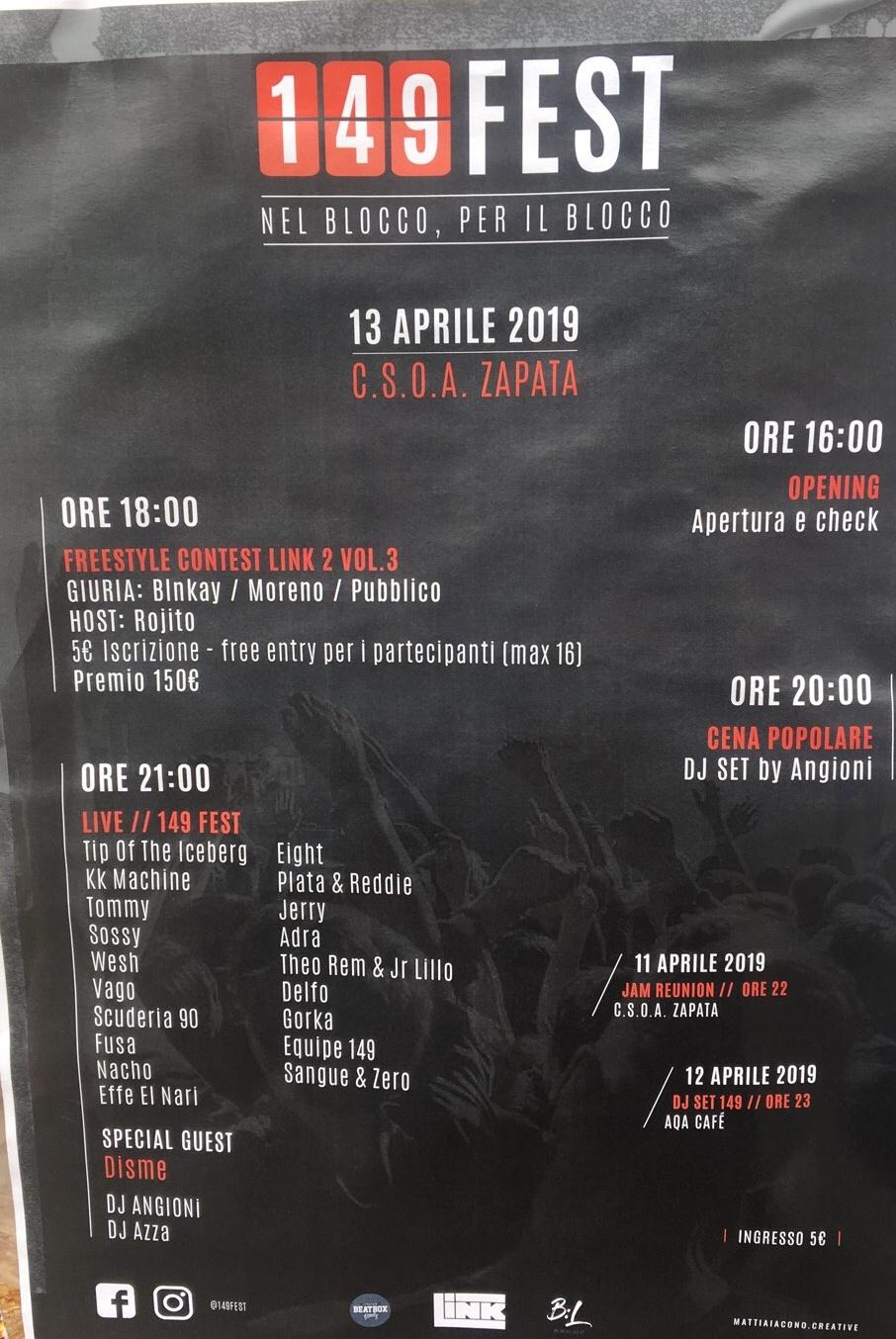 149 Fest CSOA Zapata Via San Pier d'Arena 36, 16151 Genova Dal 13/04/2019 Al 13/04/2019 18:00 - 03:00