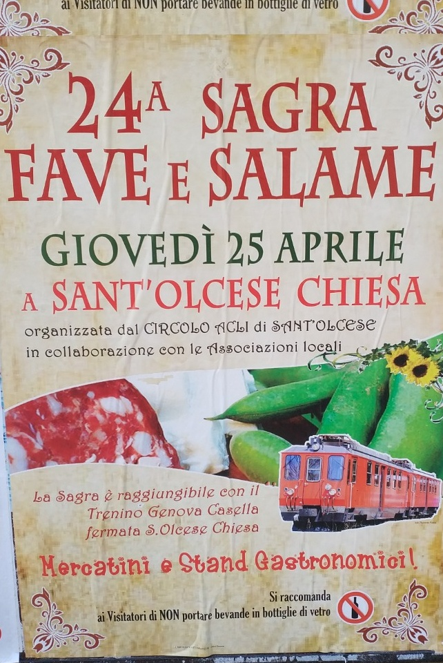 24ª Sagra Fave e Salame di Sant'Olcese Centro di Sant'Olcese Via Alcide De Gasperi, 19, 16010 Sant'Olcese Dal 25/04/2019 Al 25/04/2019 10:00 - 22:00