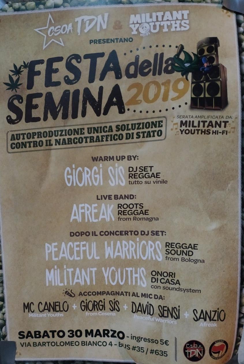 Festa della Semina 2019 CSOA TDN - Terra Di Nessuno Via Bartolomeo Bianco 4, 16127 Genova Dal 30/03/2019 Al 30/03/2019 21:00 - 03:00