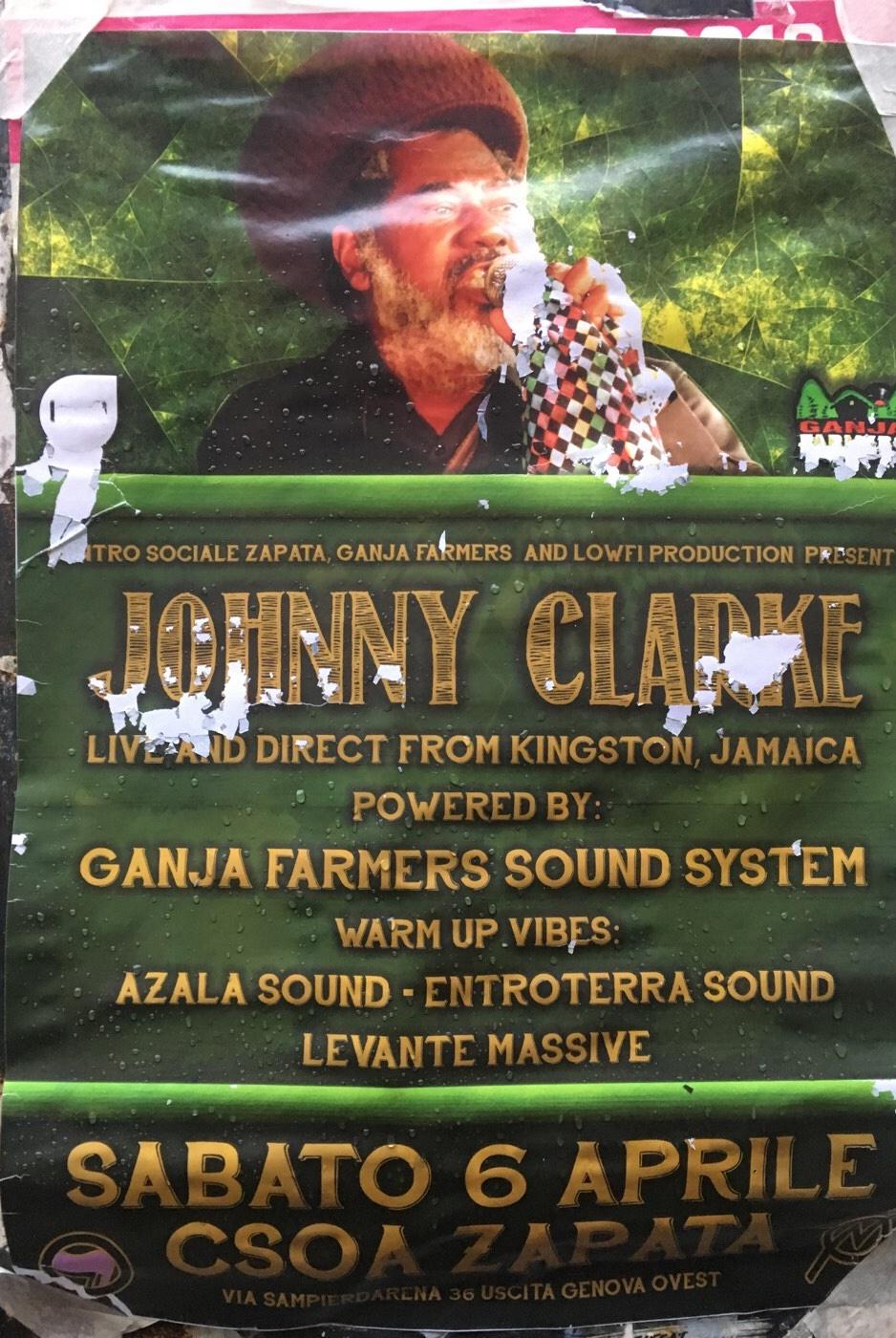 Johnny Clarke CSOA Zapata Via San Pier d'Arena 36, 16151 Genova Dal 06/04/2019 Al 06/04/2019 22:00 - 01:00
