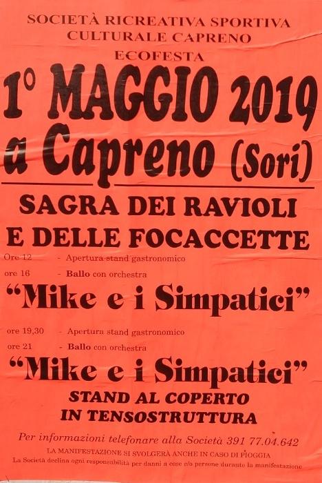 Sagra 1º Maggio Capreno di Sori Centro di Capreno Frazione Capreno, 16030 Sori Dal 01/05/2019 Al 01/05/2019 11:00 - 00:00