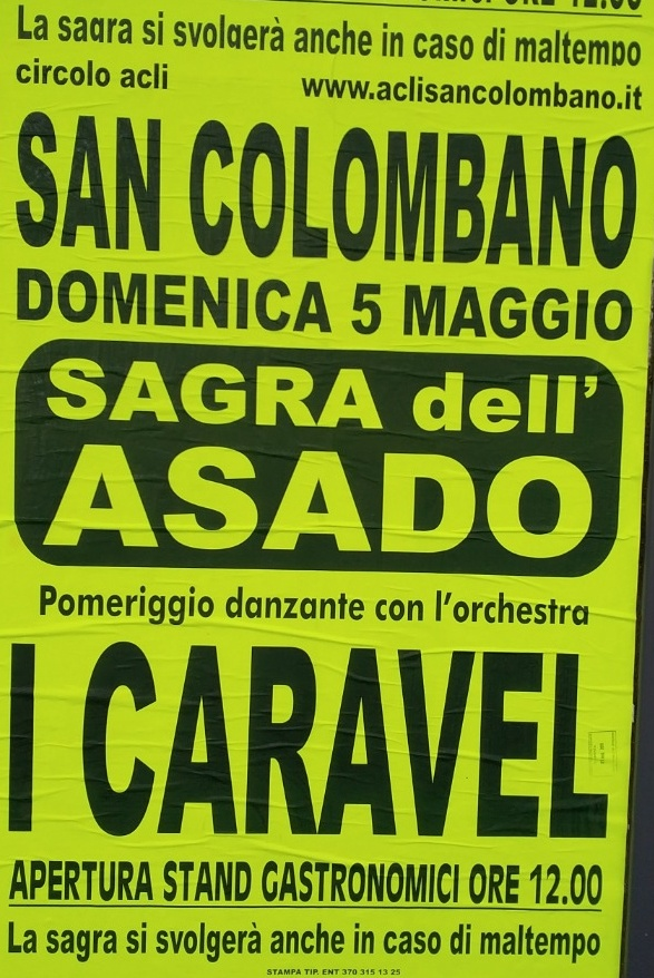 Sagra dell'Asado San Colombano San Colombano Certenoli Dal 05/05/2019 Al 05/05/2019 12:00 - 00:00