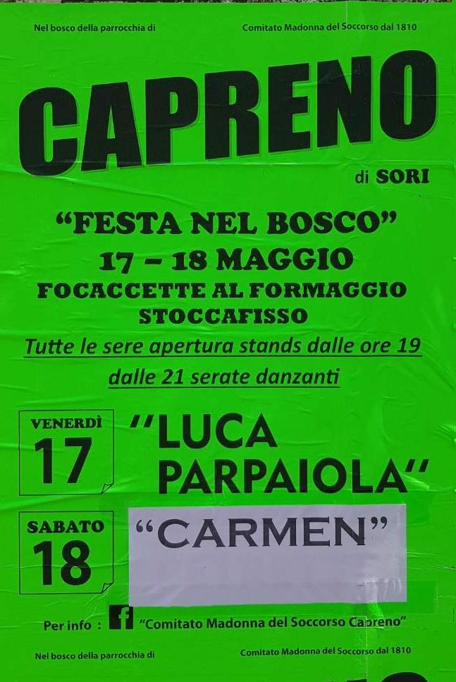 Festa nel bosco Capreno 2019 Centro di Capreno Frazione Capreno, 16030 Sori Dal 17/05/2019 Al 18/05/2019 19:00 - 00:00