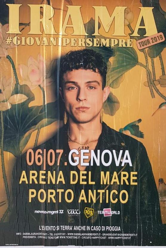 Irama Arena del Mare Belvedere dei Dogi, 16128 Genova Dal 06/07/2019 Al 06/07/2019 20:00 - 01:00