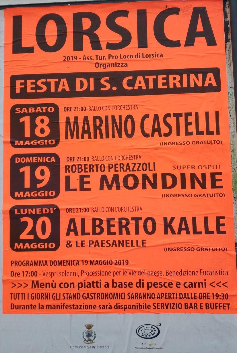Lorsica Festa di S. Caterina Lorsica Genova Dal 18/05/2019 Al 20/05/2019 19:30 - 00:00