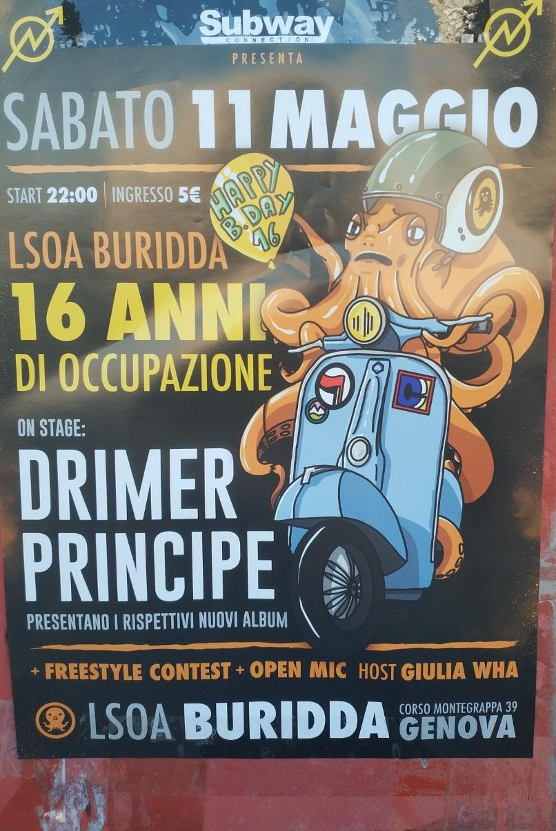 Lsoa Buridda 16 Anni di Occupazione LSOA Buridda Corso Monte Grappa 39, 16137 Genova Dal 11/05/2019 Al 11/05/2019 22:00 - 04:00