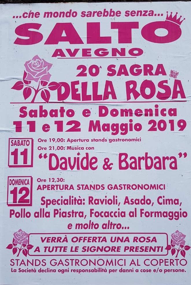 Sagra della rosa 2019 Frazione Salto di Avegno , 16036 Avegno Dal 12/05/2019 Al 12/05/2019 12:30 - 00:00
