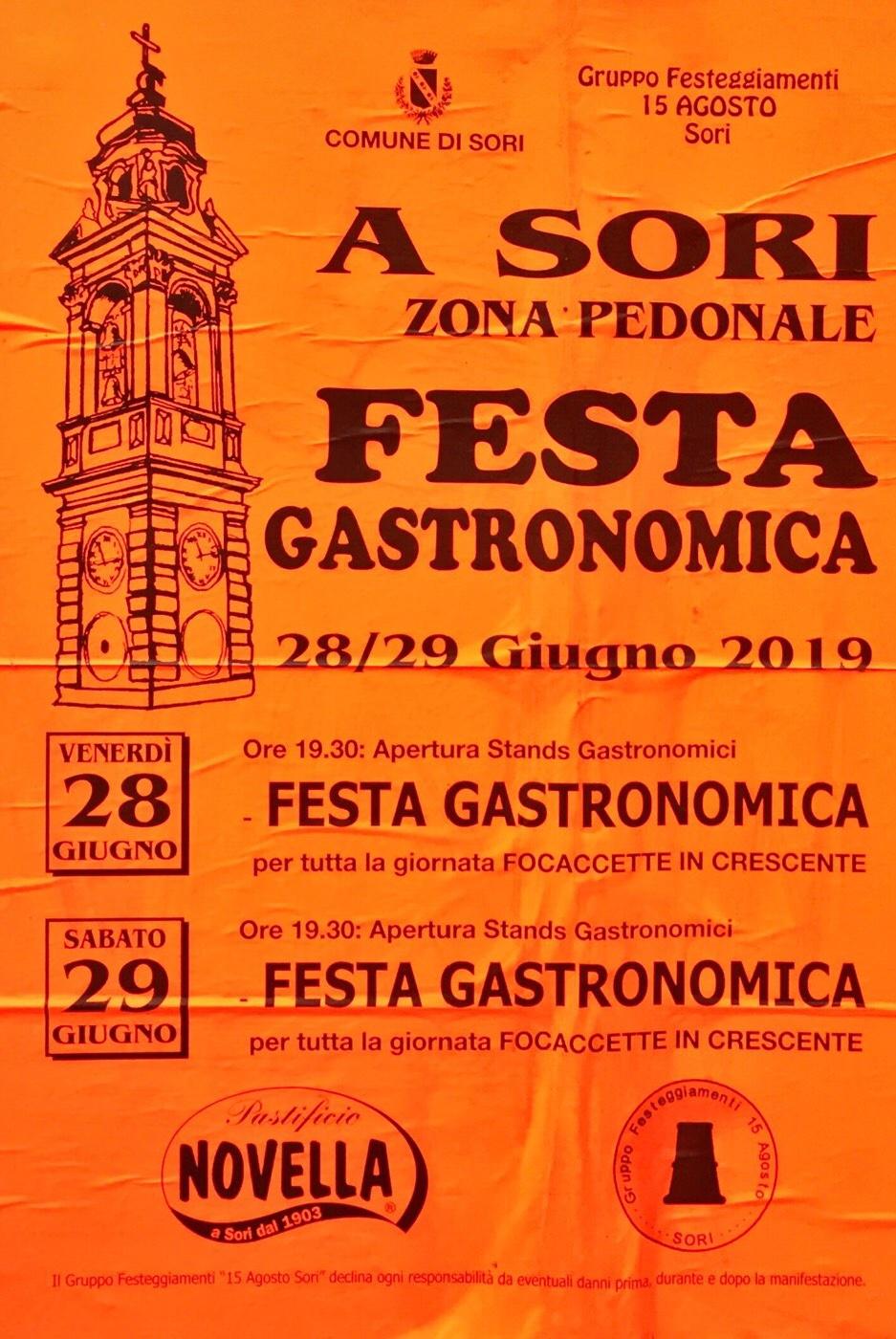 Festa Gastronomica di Sori 2019 Centro Città di Sori Via G. Stagno 19, 16030 Sori Dal 28/06/2019 Al 29/06/2019 19:30 - 23:00