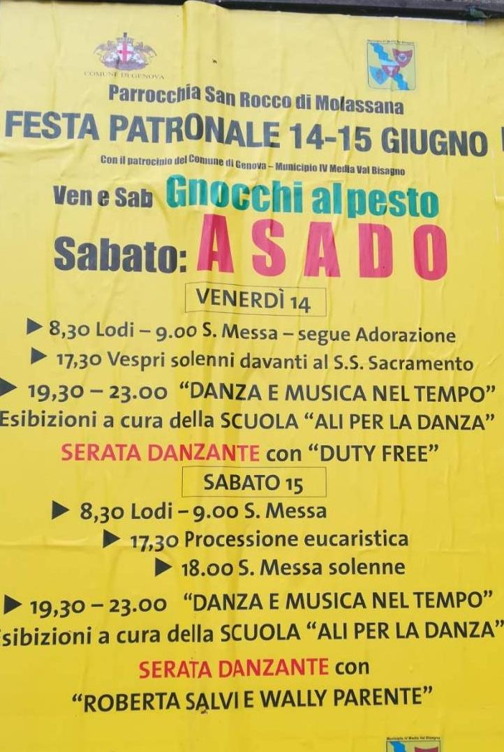 Festa patronale Parrocchia San Rocco di Molassana Via S. Felice 18-2, 16138 Genova Dal 14/06/2019 Al 15/06/2019 08:30 - 20:00