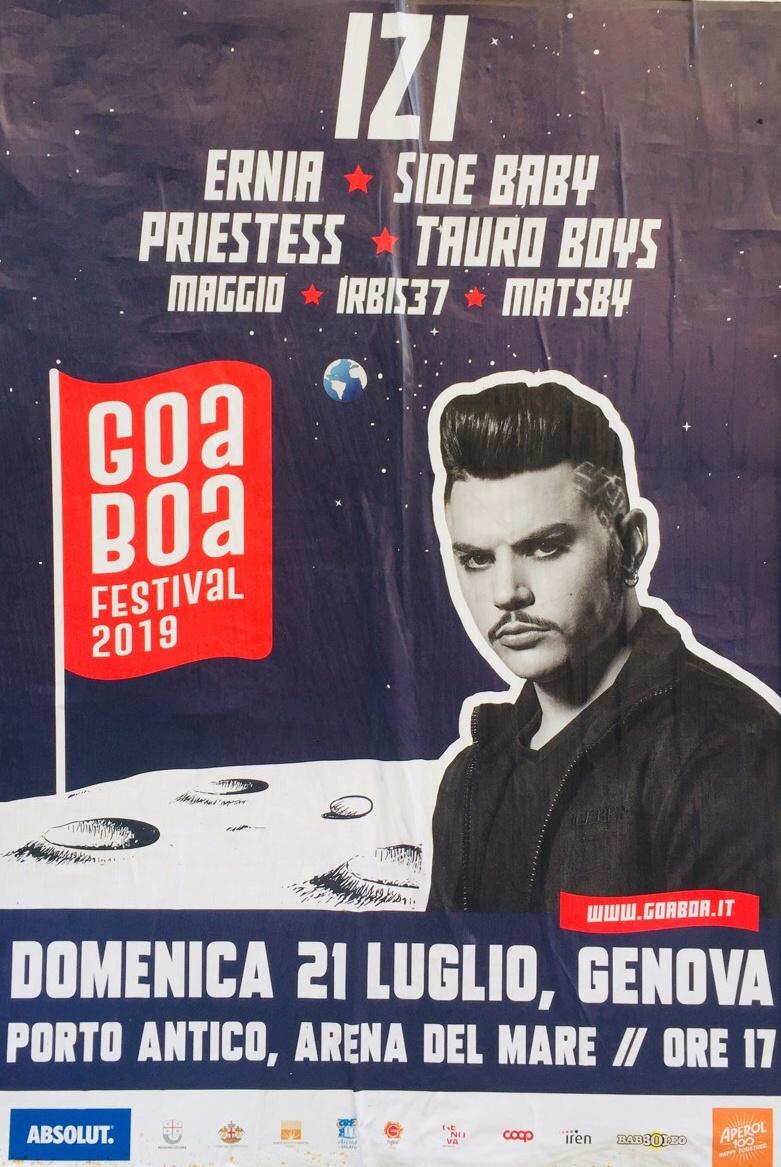 GOA BOA / Izi - Ernia - Side Baby - Priestess Arena del Mare Belvedere dei Dogi, 16128 Genova Dal 21/07/2019 Al 21/07/2019 17:00 - 00:00