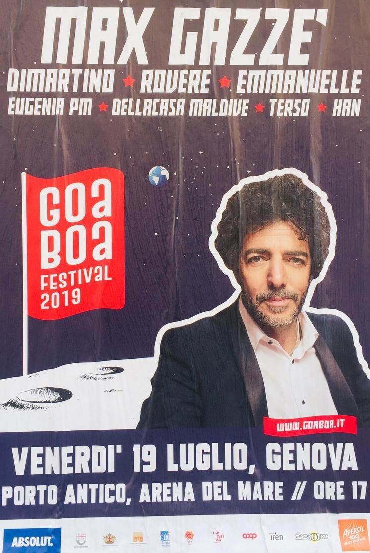 GOA BOA / Max Gazzè - Emmanuelle - Rovere Arena del Mare Belvedere dei Dogi, 16128 Genova Dal 19/07/2019 Al 19/07/2019 17:00 - 00:00