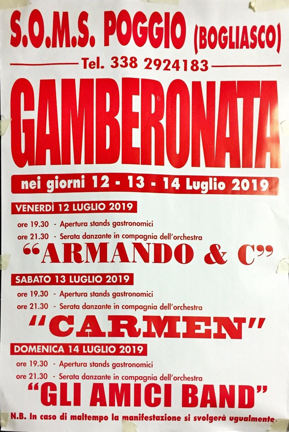 Gamberonata Bogliasco 2019 SOMS Poggio - Bogliasco Località Poggio Favaro 170, 16031 Bogliasco Dal 12/07/2019 Al 14/07/2019 19:30 - 00:00