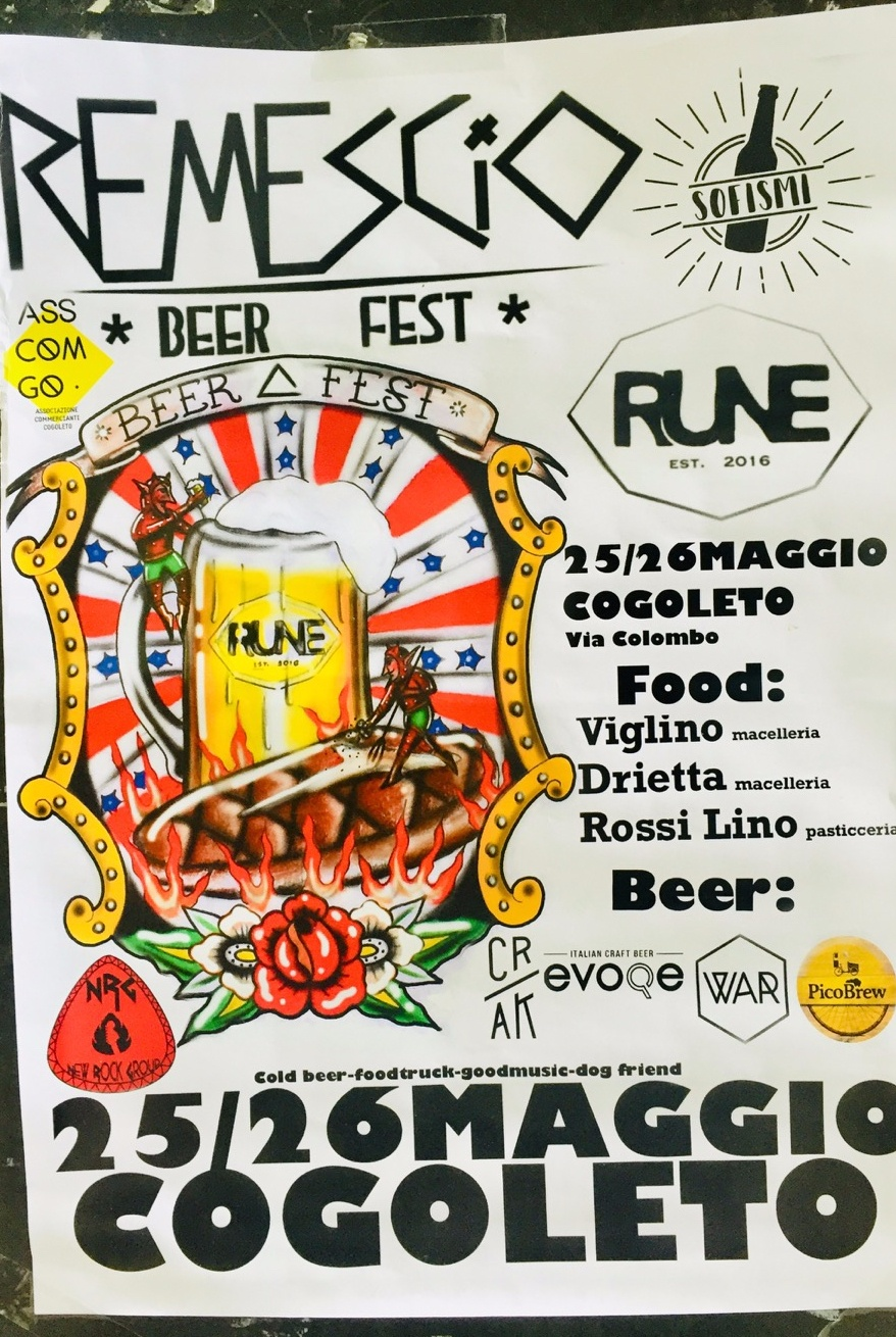 Remescio Beer Fest RUNE Public House & Co. Via Colombo 64, 16016 Cogoleto Dal 25/05/2019 Al 26/05/2019 13:00 - 00:00