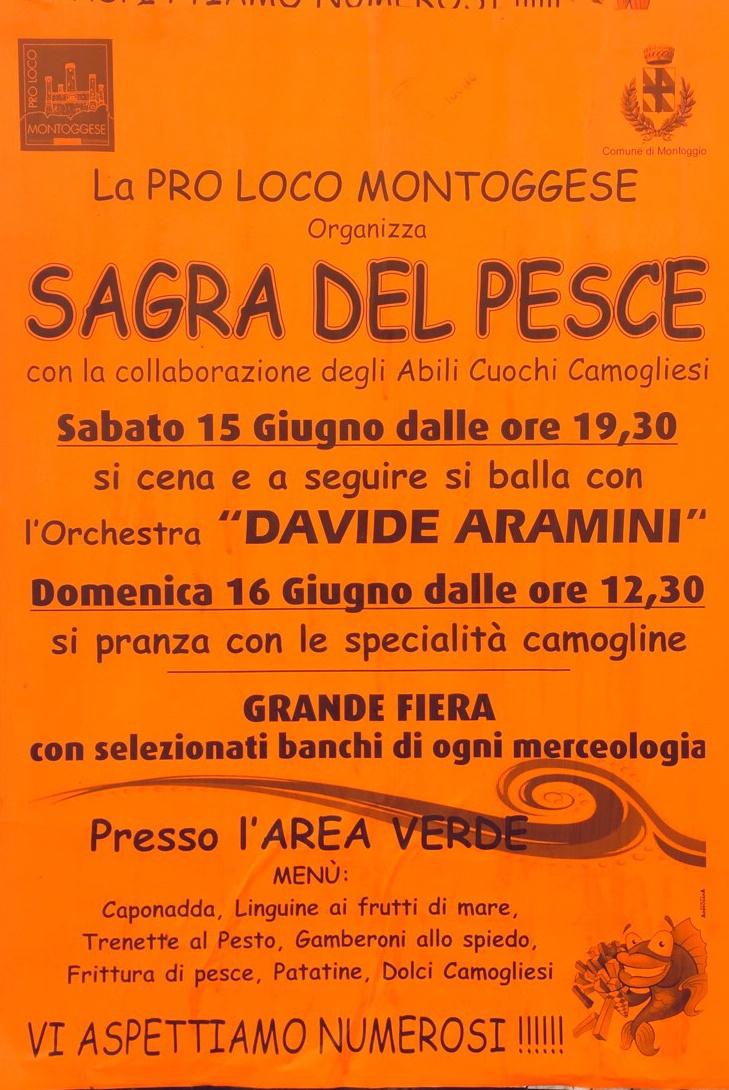 Sagra del Pesce Centro Città di Montoggio Via IV Novembre 18, 16026 Montoggio Dal 15/06/2019 Al 15/06/2019 19:30 - 00:30
