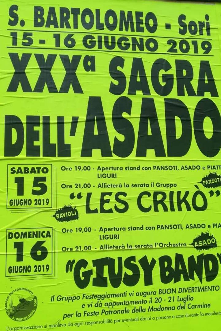 Sagra dell'asado San Bartolomeo 2019 San Bartolomeo Via San Bartolomeo, 16031 Genova Dal 15/06/2019 Al 16/06/2019 19:00 - 00:00